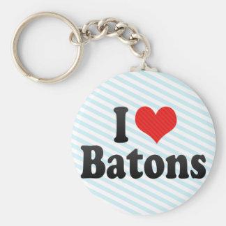 I Love Batons Basic Round Button Key Ring