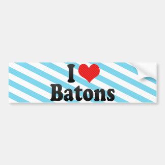 I Love Batons Bumper Sticker