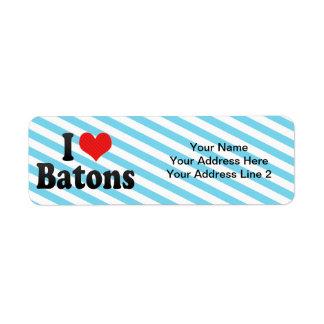 I Love Batons Return Address Label