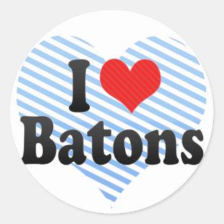 I Love Batons Round Sticker