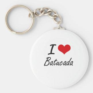 I Love BATUCADA Basic Round Button Key Ring