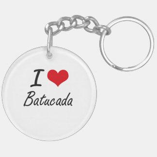 I Love BATUCADA Double-Sided Round Acrylic Key Ring
