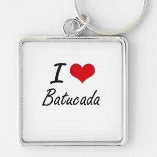 I Love BATUCADA Silver-Colored Square Key Ring
