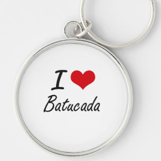 I Love BATUCADA Silver-Colored Round Key Ring
