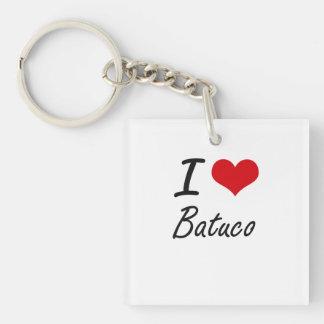 I Love BATUCO Single-Sided Square Acrylic Key Ring