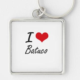 I Love BATUCO Silver-Colored Square Key Ring