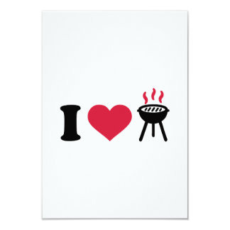 """I love BBQ barbecue 3.5"""" X 5"""" Invitation Card"""