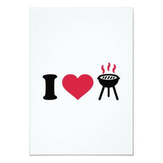 I love BBQ barbecue 9 Cm X 13 Cm Invitation Card