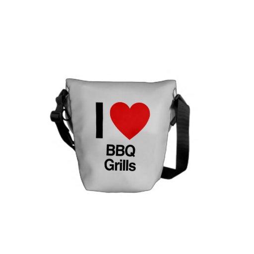 i love bbq grills messenger bag