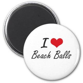 I Love Beach Balls Artistic Design 6 Cm Round Magnet