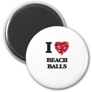 I Love Beach Balls 6 Cm Round Magnet