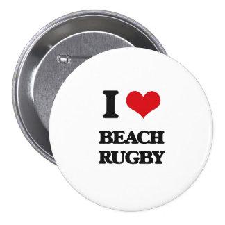 I Love Beach Rugby Pin