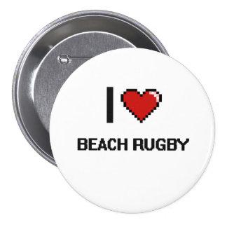 I Love Beach Rugby Digital Retro Design 3 Inch Round Button
