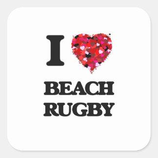 I Love Beach Rugby Square Sticker