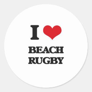 I Love Beach Rugby Round Sticker