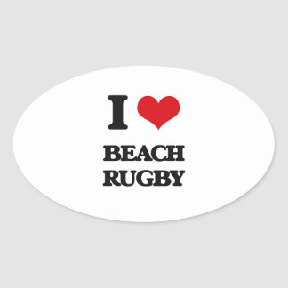 I Love Beach Rugby Oval Stickers