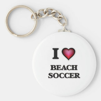 I Love Beach Soccer Basic Round Button Key Ring