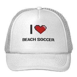 I Love Beach Soccer Digital Retro Design Trucker Hat