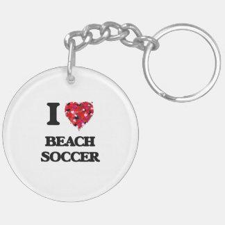 I Love Beach Soccer Double-Sided Round Acrylic Key Ring
