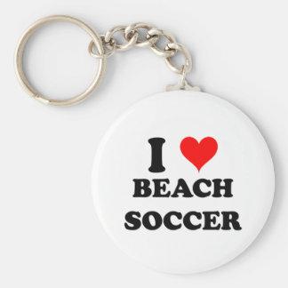 I Love Beach Soccer Basic Round Button Key Ring