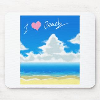 I Love Beach (Text) Mousepads