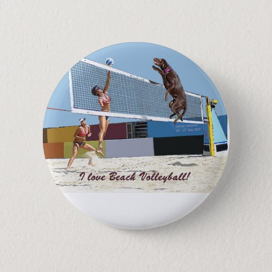 I love beach volleyball 6 cm round badge