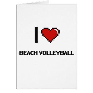 I Love Beach Volleyball Digital Retro Design Greeting Card