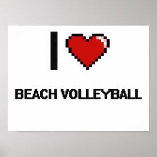 I Love Beach Volleyball Digital Retro Design Poster