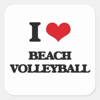 I Love Beach Volleyball Square Stickers