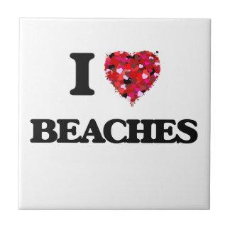 I Love Beaches Small Square Tile
