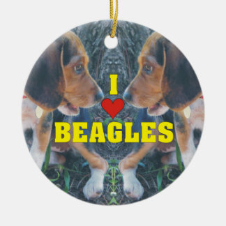 I Love Beagles Beagle Puppies Christmas Ornament