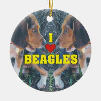I Love Beagles Beagle Puppies Round Ceramic Decoration