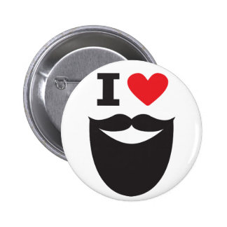 I Love Beard - red 6 Cm Round Badge