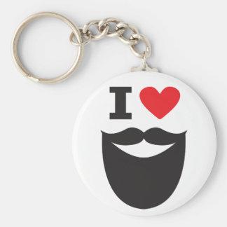 I Love Beard - red Key Ring