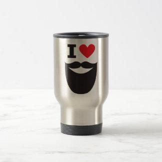 I Love Beard - red Travel Mug