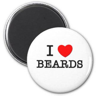 I Love Beards 6 Cm Round Magnet