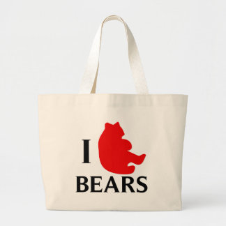 I Love Bears Large Tote Bag