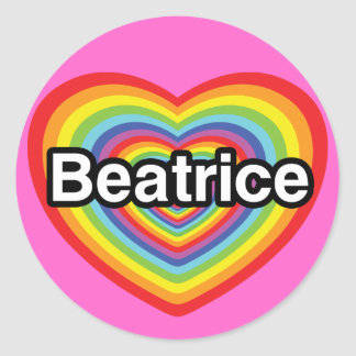 I love Beatrice, rainbow heart Round Sticker