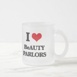 I Love Beauty Parlors Frosted Glass Mug