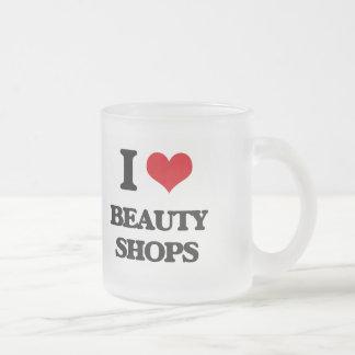 I Love Beauty Shops Frosted Glass Mug