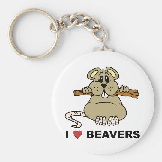 I Love Beavers Basic Round Button Key Ring