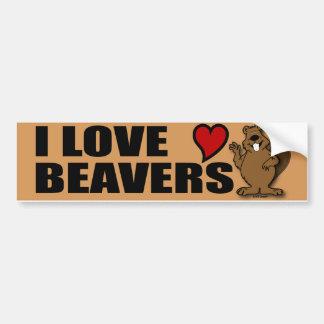 I Love Beavers Bumper Sticker
