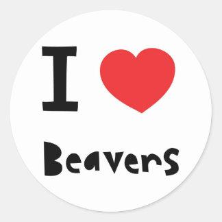 I love Beavers Classic Round Sticker