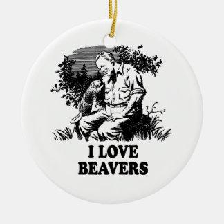 I Love Beavers Round Ceramic Decoration