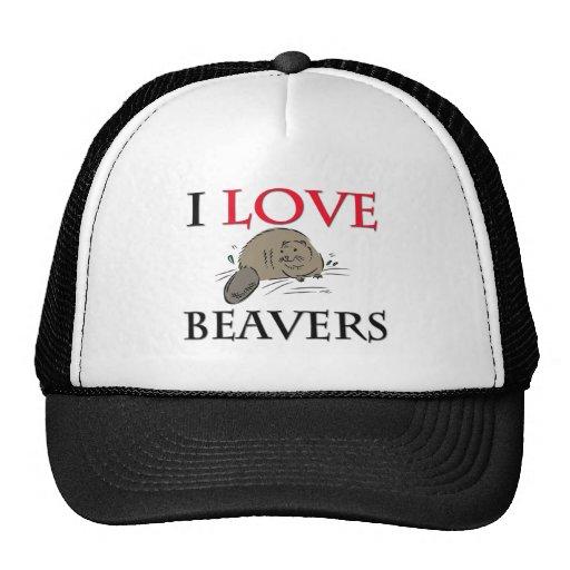 I Love Beavers Mesh Hat