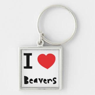 I love Beavers Key Ring