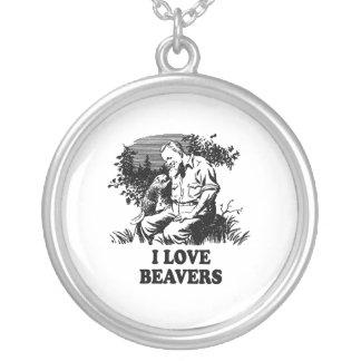 I Love Beavers Round Pendant Necklace