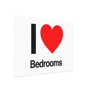 i love bedrooms stretched canvas print