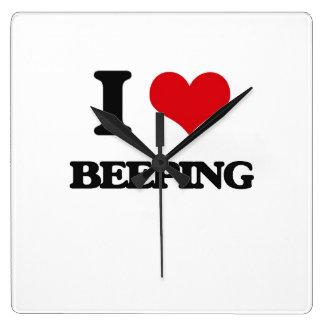 I Love Beeping Square Wallclocks