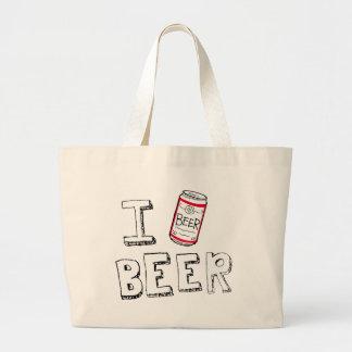 i (love) beer beer jumbo tote bag